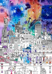 Manchester skyline art print by local artist Meha Hindocha, featuring the city's most iconic buildings. Colourful and detailed illustration.