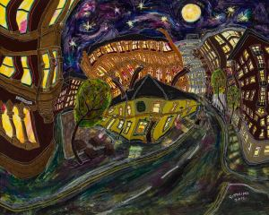 Fine art print of the peveril of the peak pub in Manchester at night time by local painter Michael Gutteridge.