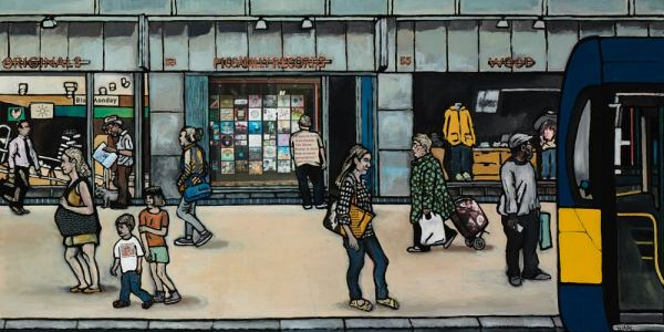 Painting of Piccadilly records shop in Manchester's northern quarter by local artist Matt Wilde. Fine art print on archival paper.