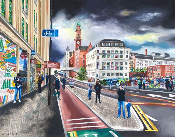 Fine art print of the top of Oxford Road, in Manchester, by local artist Michelle Taube.