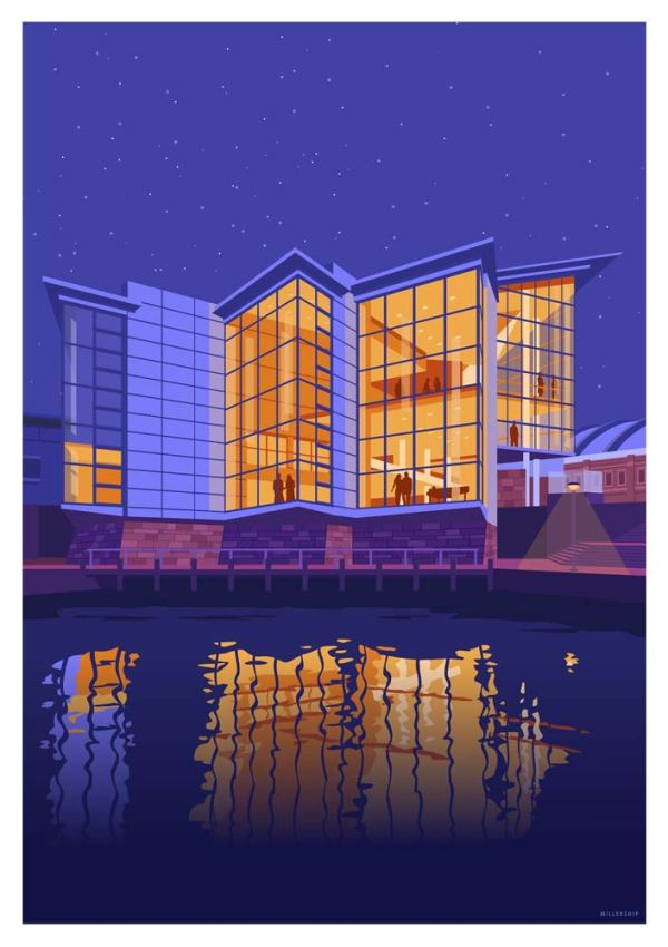 Art print of Manchester's Bridgewater Hall by Stephen millership. Poster, print, wall art.