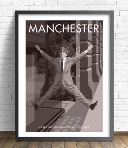 Vintage style Manchester print of comedian Harry Worth in St Anne's Square, wall art poster by local artist Stephen Millership.
