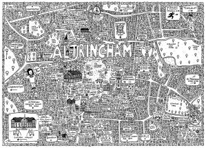 Doodle map of Altrincham in Manchester by local artist Dave Draws. Manchester art, poster, wall art, maps, illustration.