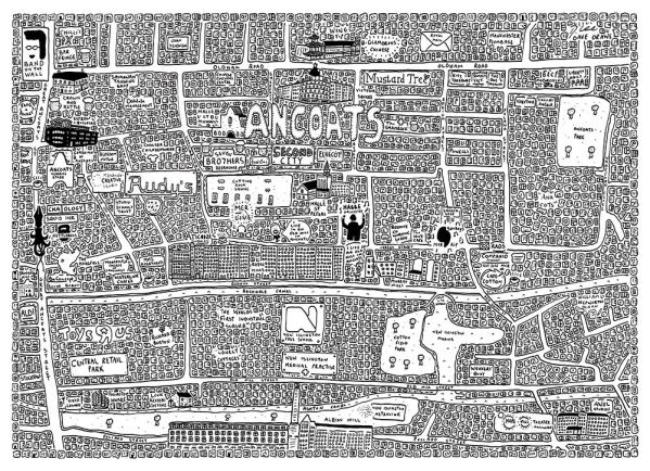 Black and white Doodle map of Ancoats in Manchester by local artist Dave Draws. Manchester art, poster, wall art, maps, illustrations.