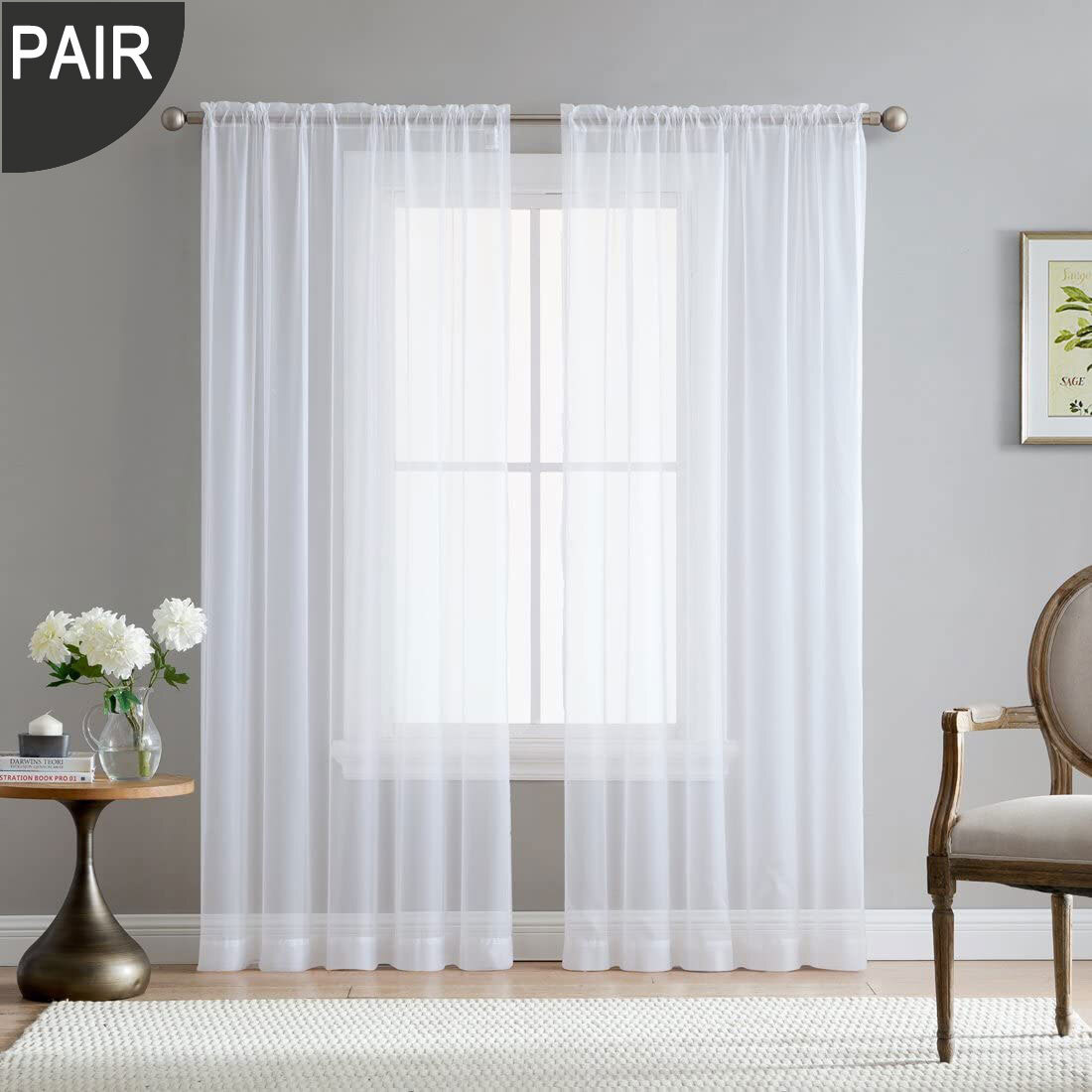 rod pocket white voile sheer curtain one pair