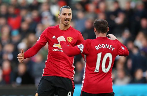 Manchester United's Zlatan Ibrahimovic (left) celebrates with Wayne Rooney after scoring his side's third goal during the Premier League match at the Liberty Stadium, Swansea. PRESS ASSOCIATION Photo. Picture date: Sunday November 6, 2016. See PA story SOCCER Swansea. Photo credit should read: Nick Potts/PA Wire. RESTRICTIONS: EDITORIAL USE ONLY No use with unauthorised audio, video, data, fixture lists, club/league logos or