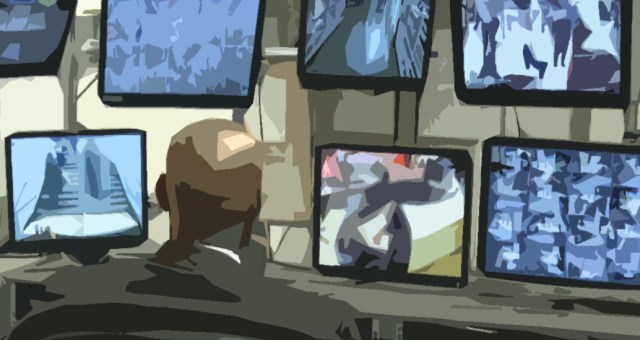 CCTV operator viewing screens