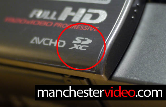 Shows SDXC logo on a camcorder