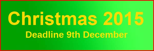 Christmax Deadline 9th December 2015