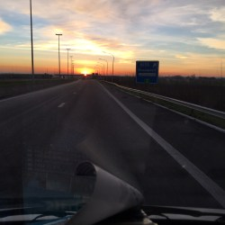 "Sunset on the motorway to Calais: European Motorhome Tour ""Europe's Best Christmas Markets"