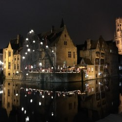 "Bruges at night on Escorted European Motorhome Tour ""Europe's Best Christmas Markets"""