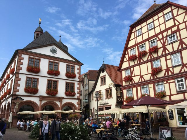 Market square Lohr am Main during escorted motorhome tour