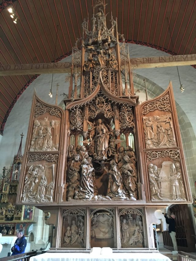 Riemenschneider's alter in the Lord's Chapel Creglingen during escorted motorhome tour