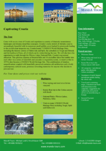 Photo First Page Tourflyer Captivating Croatia 2020