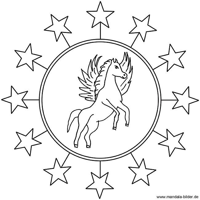Pegasus Mandala Zum Kostenlosen Ausdrucken Und Ausmalen