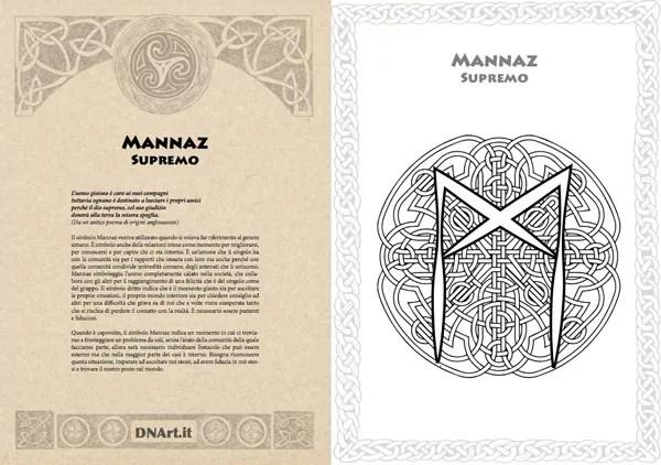 mandala rune e simboli celtici da colorare pagina di esempio: la runa MANNAZ