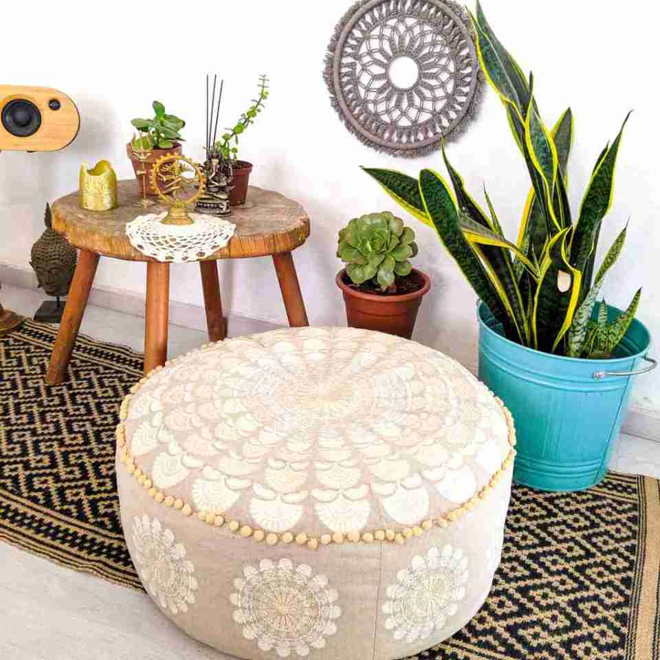 Bohemian Decor Floor Cushion Pillow Pouf Beige Round Boho Chic 4
