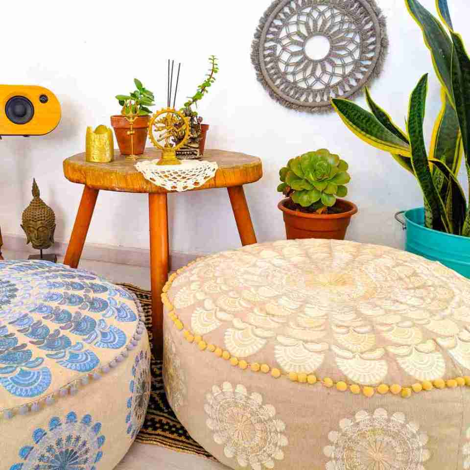 Bohemian Decor Floor Cushion Pillow Pouf Beige Round Boho Chic 5