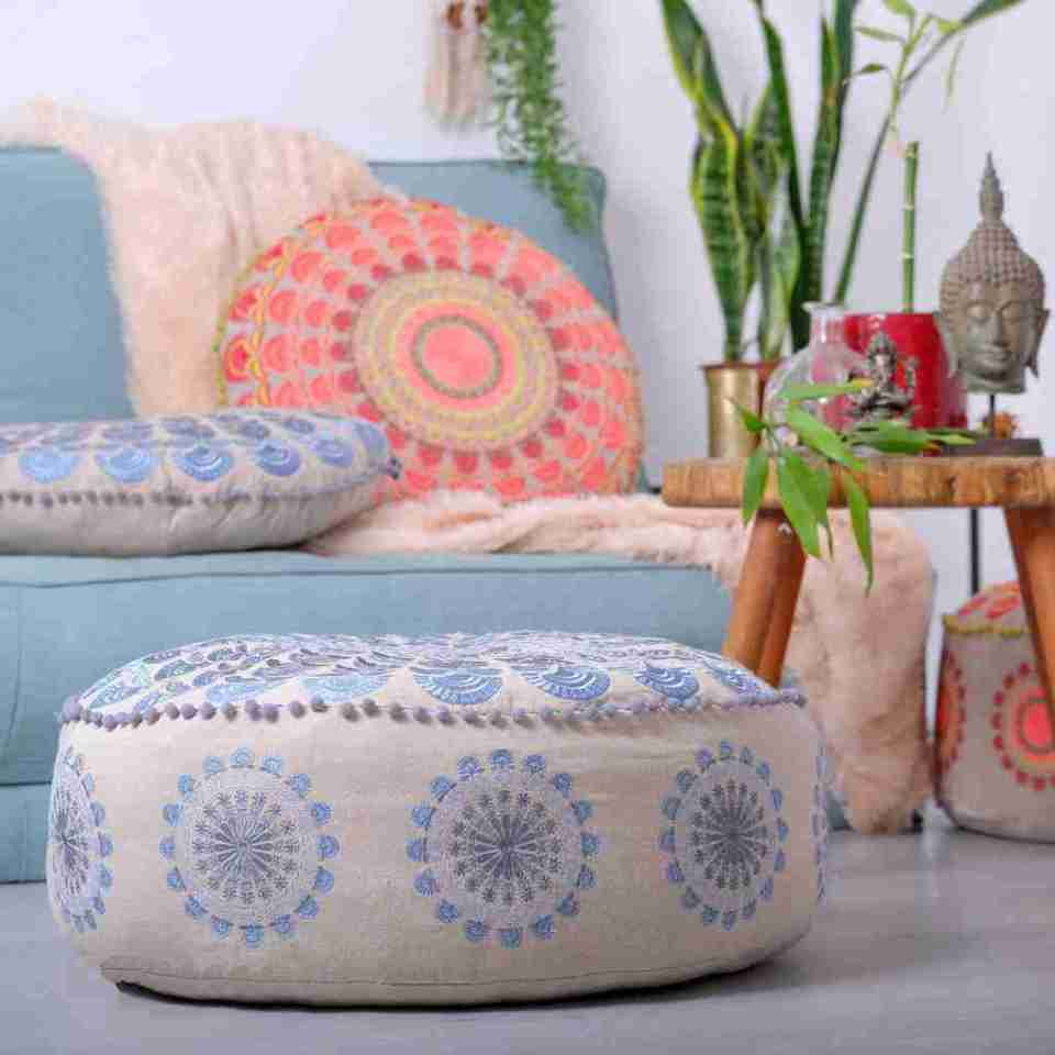 Bohemian Floor Pillow Blue 10
