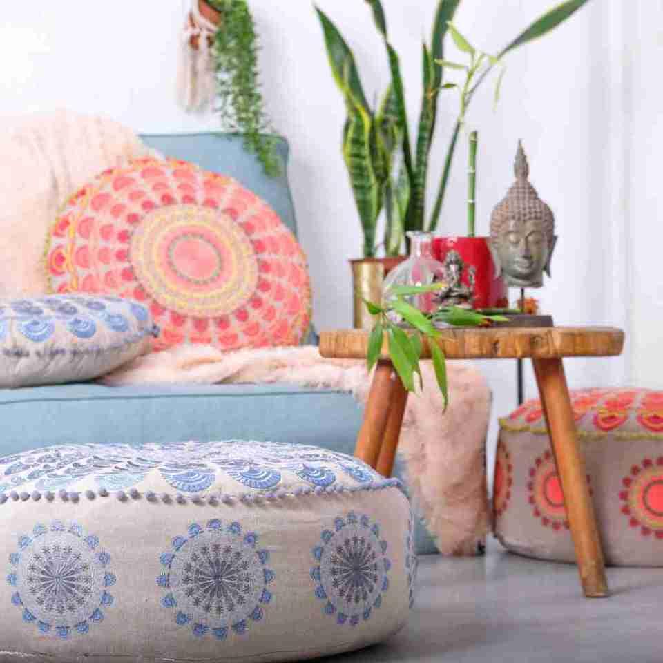Bohemian Floor Pillow Blue 11