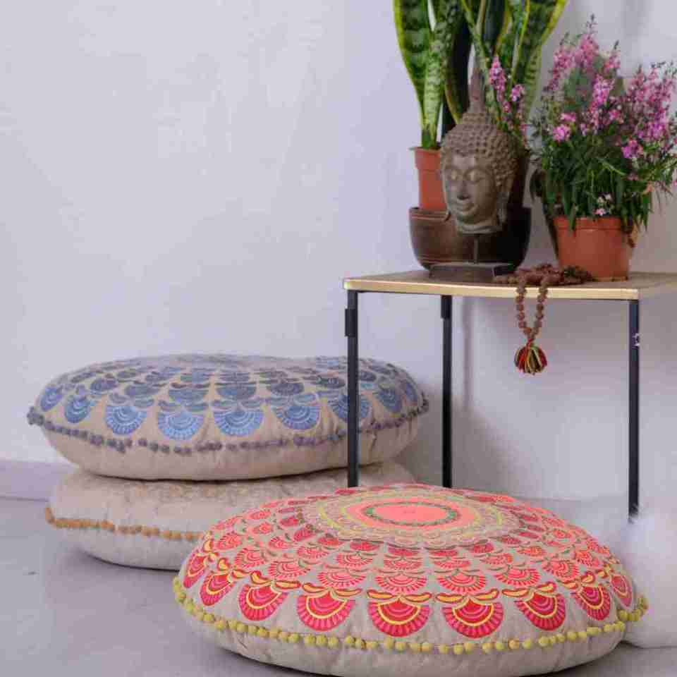 Bohemian Floor Pillow Blue 6