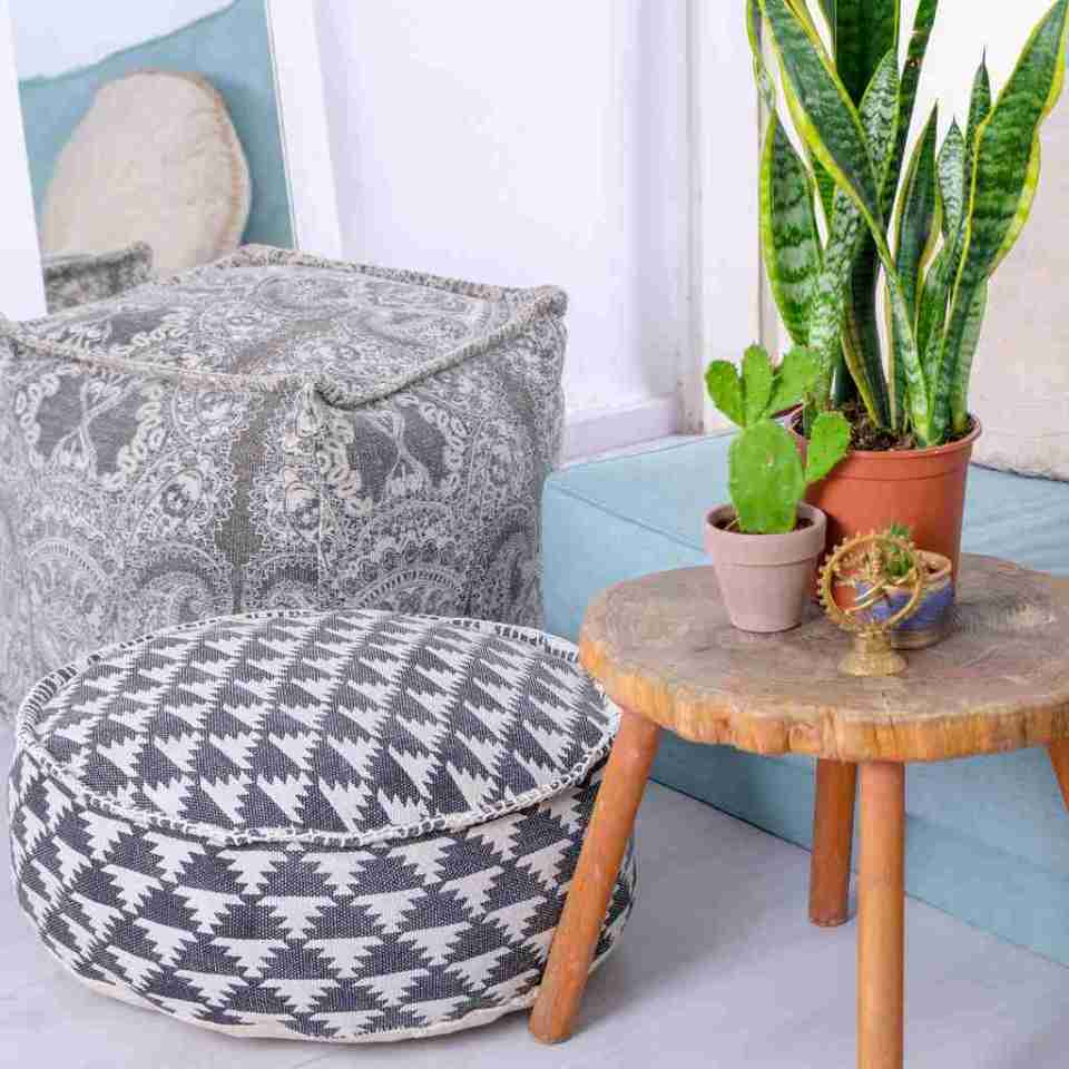 Tribal Bohemian Decor Floor Cushion Pouf pattern black gold white 10