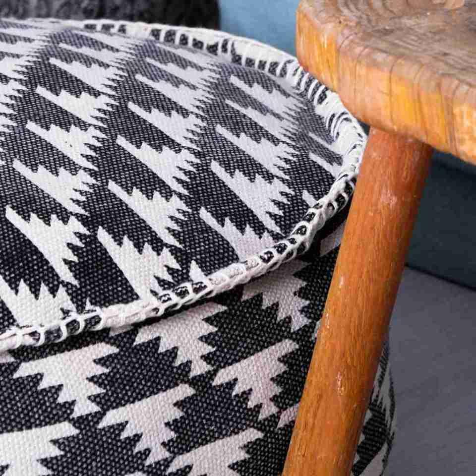 Tribal Bohemian Decor Floor Cushion Pouf pattern black gold white 8
