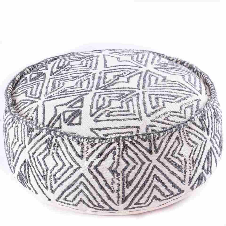 Tribal Pouf Ottoman Cube Floor Cushion Decor Black and White 1