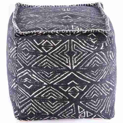 Tribal Pouf Ottoman Cube Floor Cushion Decor Black and White 14