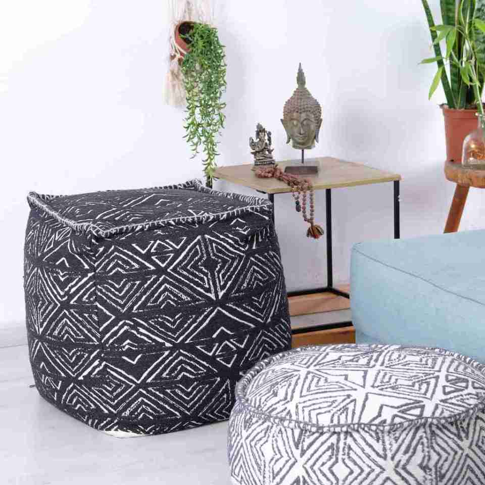 Tribal Pouf Ottoman Cube Floor Cushion Decor Black and White 17