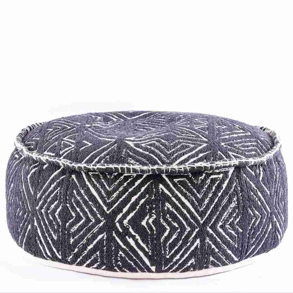 Tribal Pouf Ottoman Cube Floor Cushion Decor Black and White 7