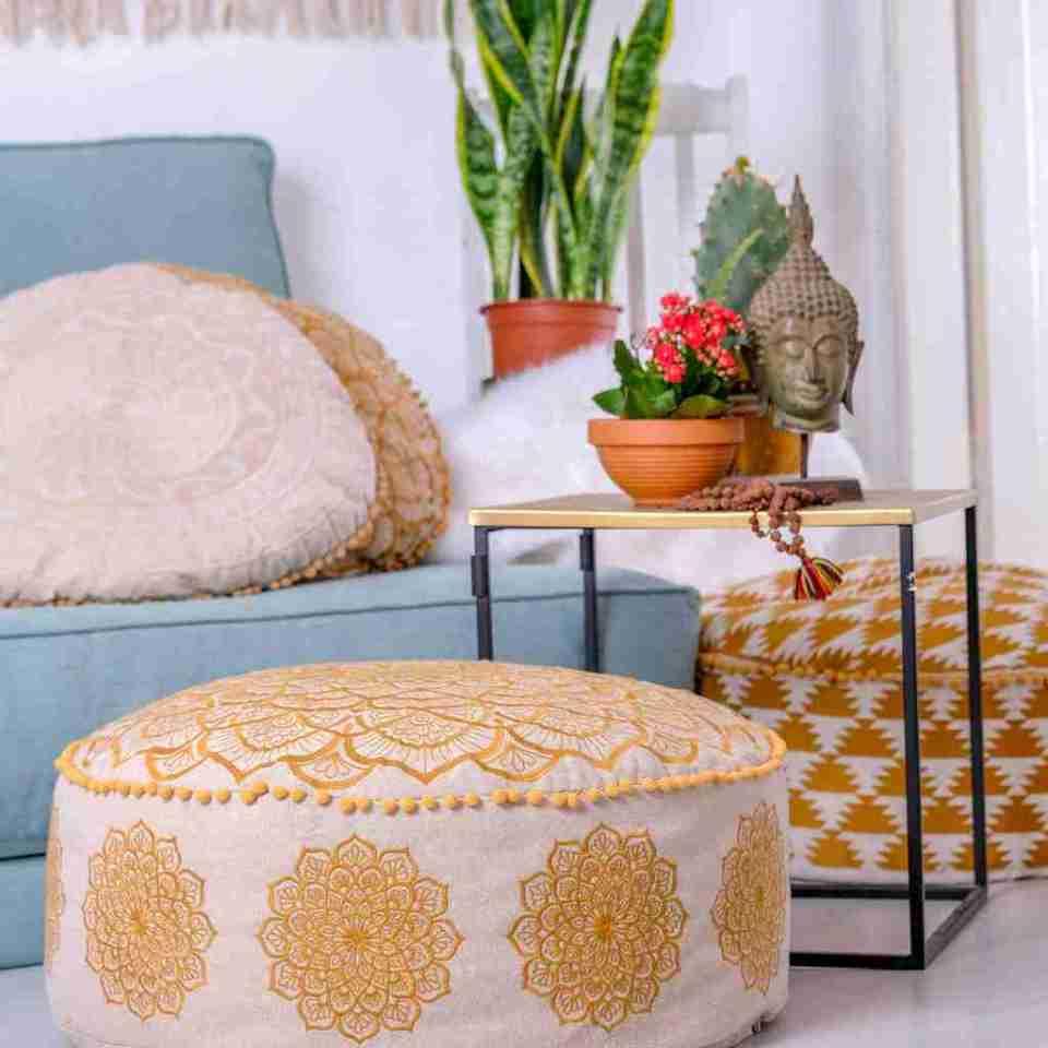 beige boho chick round cushion 2