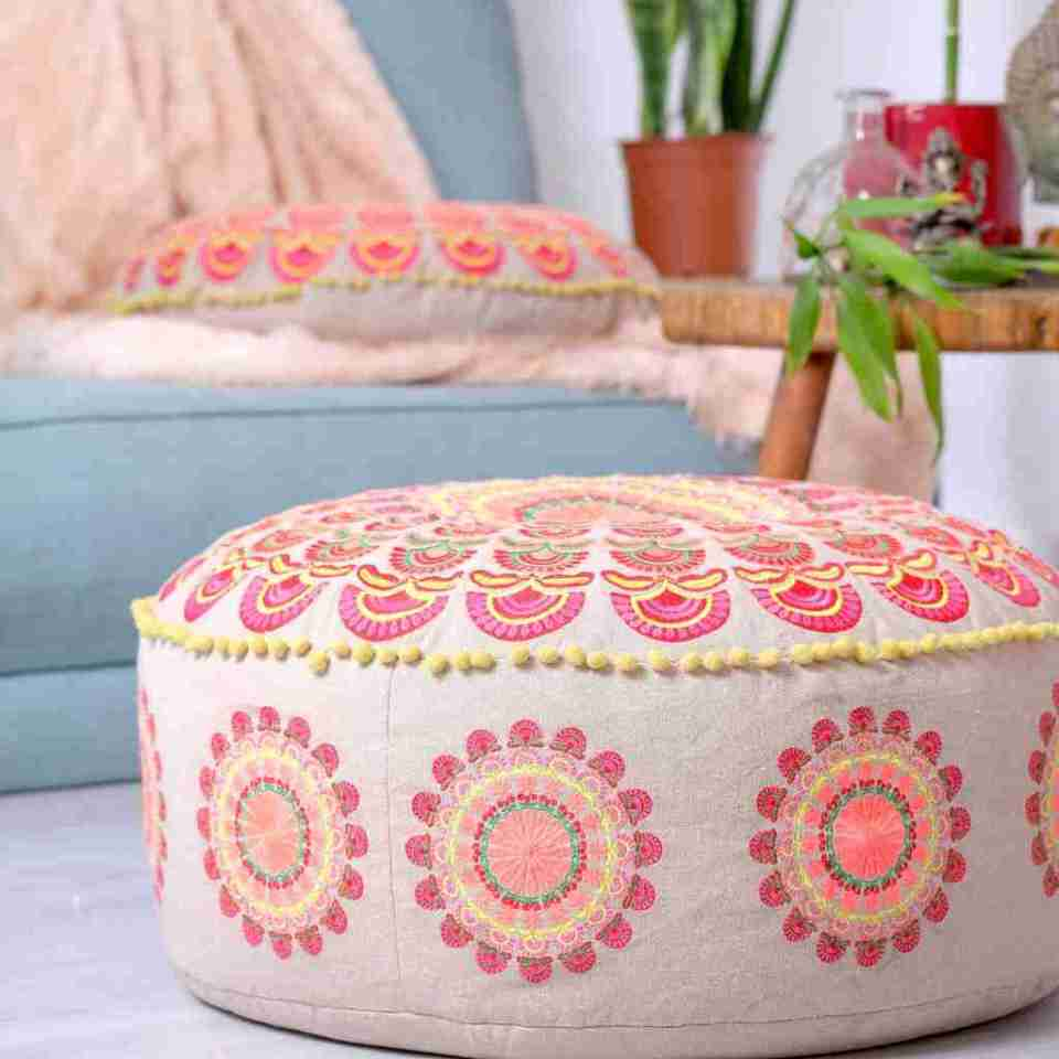 red boho chic round floor cushion 7