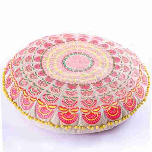 red round bohemian floor cushion 5
