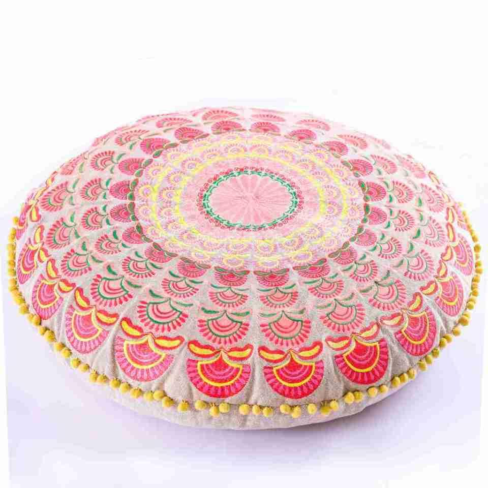 red round bohemian floor cushion 5