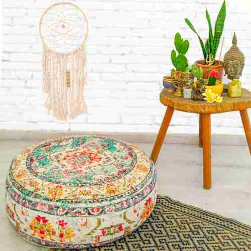 Round Floor Cushion Rug Carpet Print 1