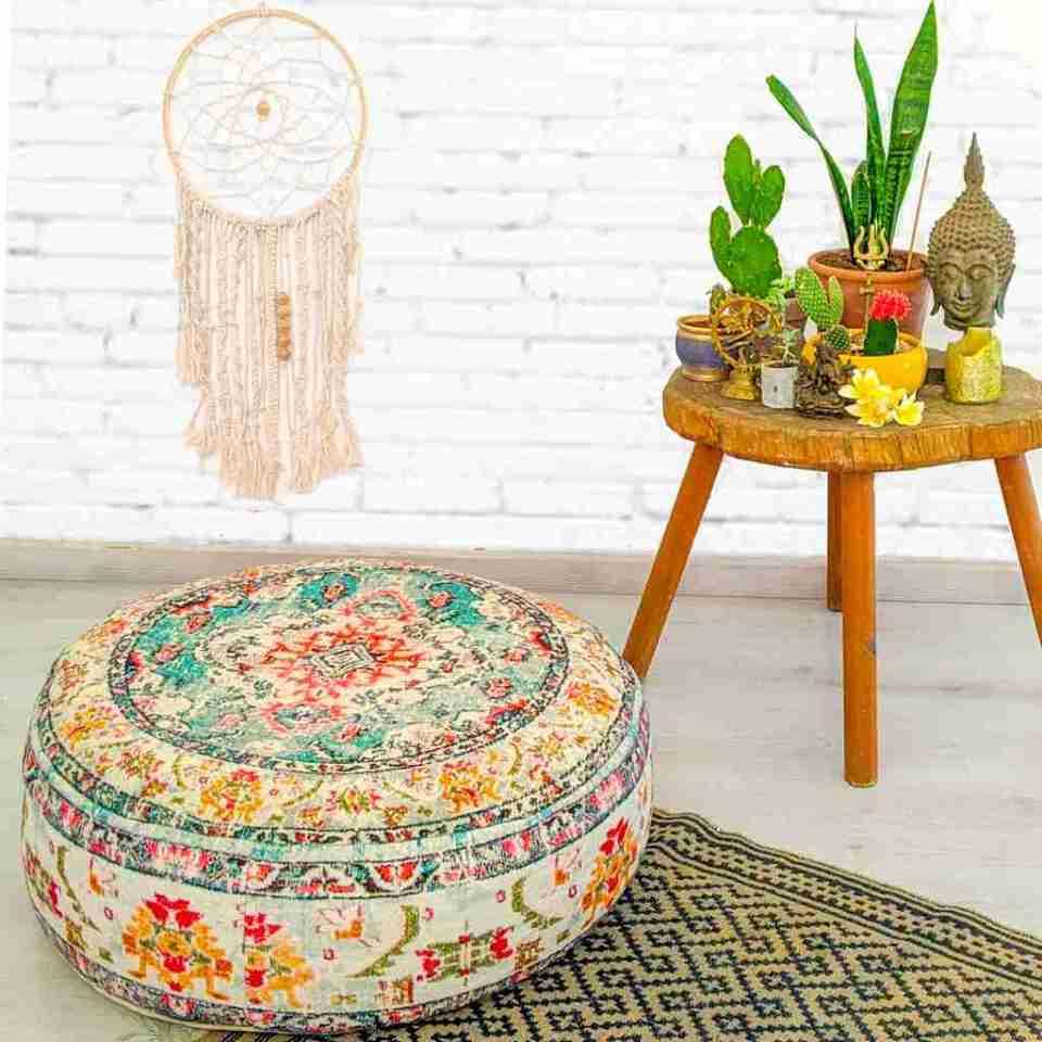 Round Floor Cushion Rug Carpet Print 1
