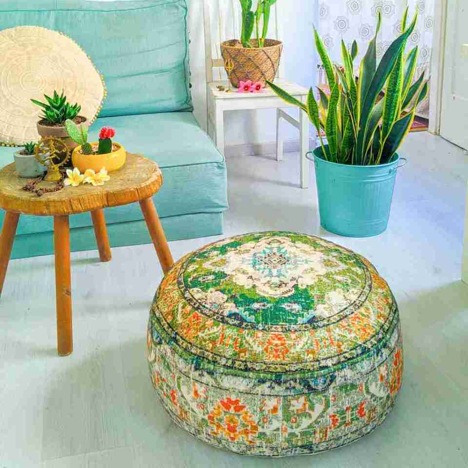 Vintage Pouf Floor Cushion Rug Carpet 10