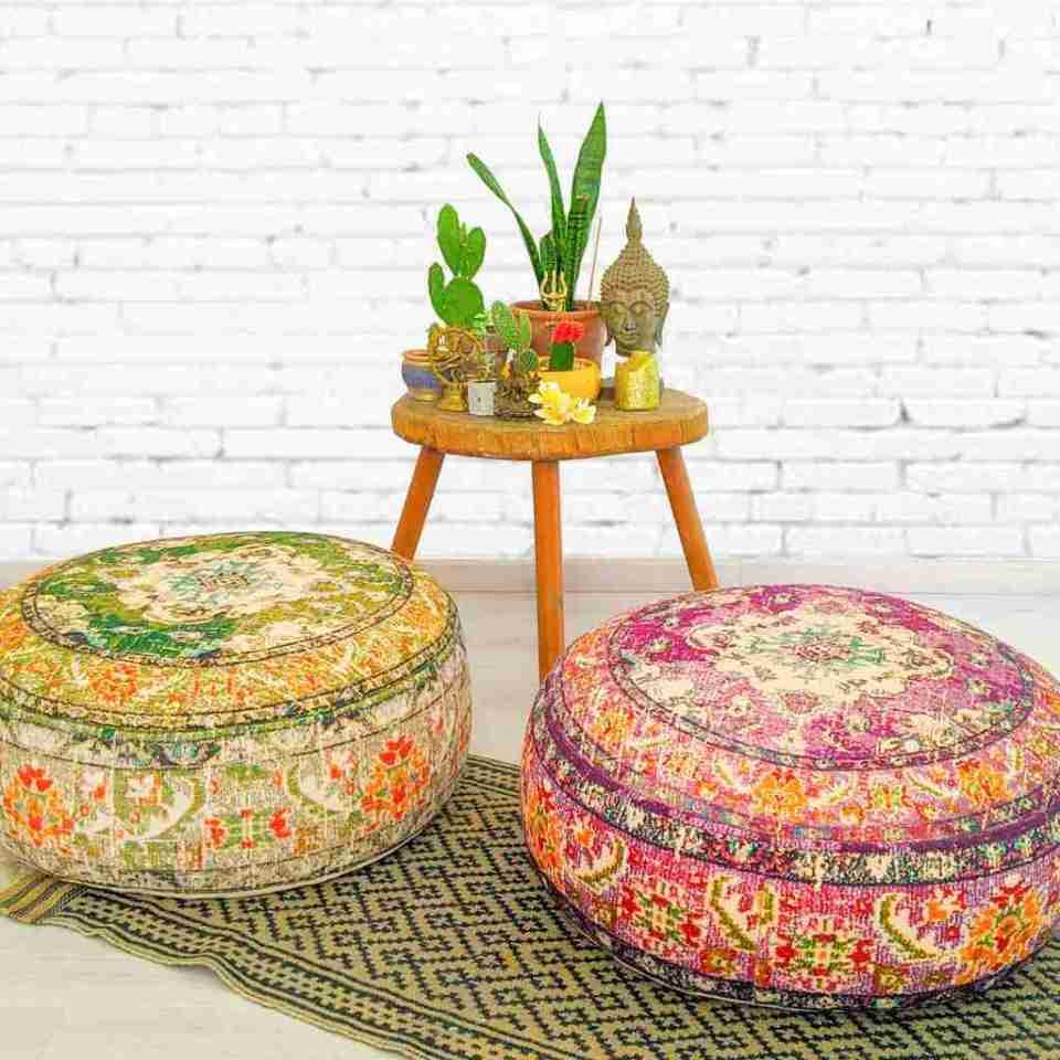 Vintage Pouf Floor Cushion Rug Carpet 12