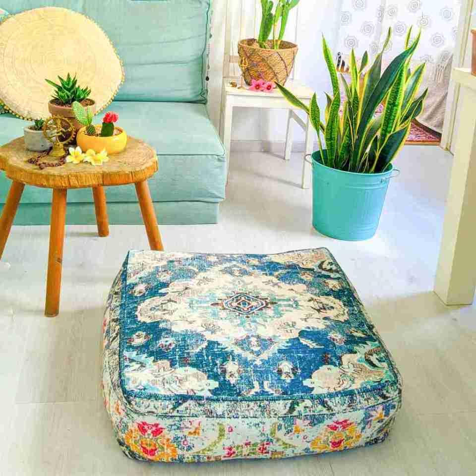 Vintage Pouf Floor Cushion Rug Carpet 13