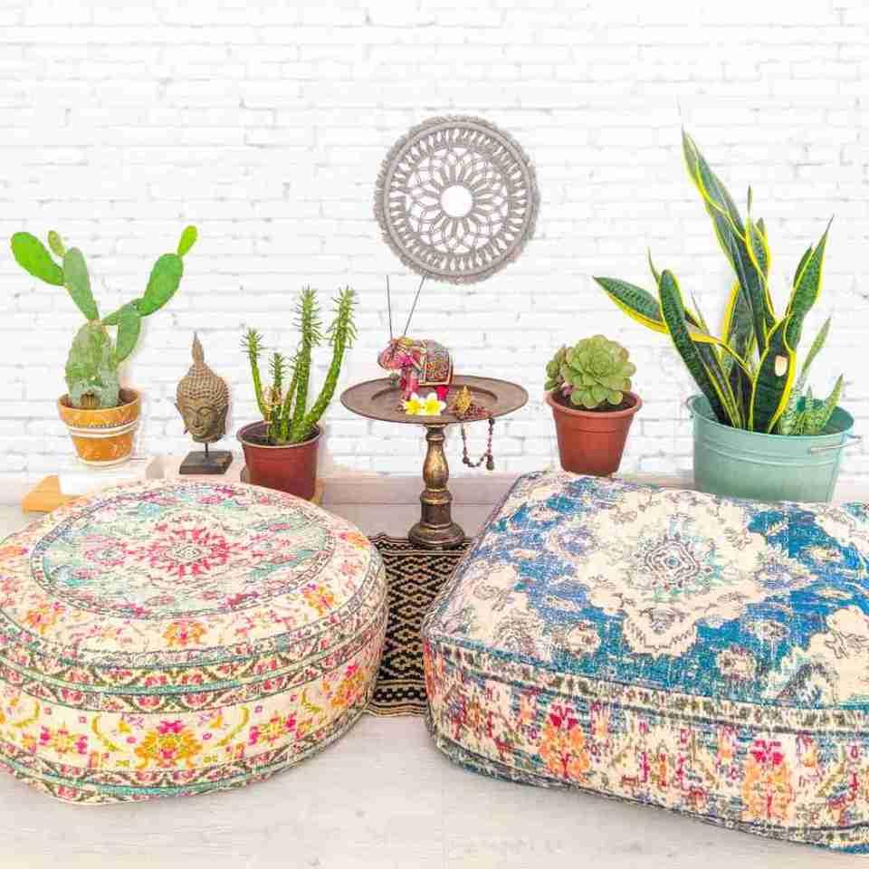 Vintage Pouf Floor Cushion Rug Carpet 14