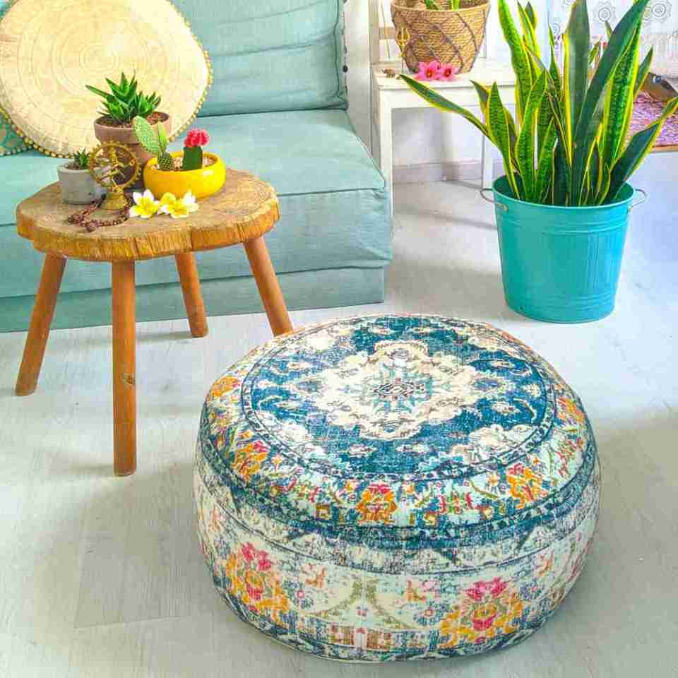 Vintage Pouf Floor Cushion Rug Carpet 18