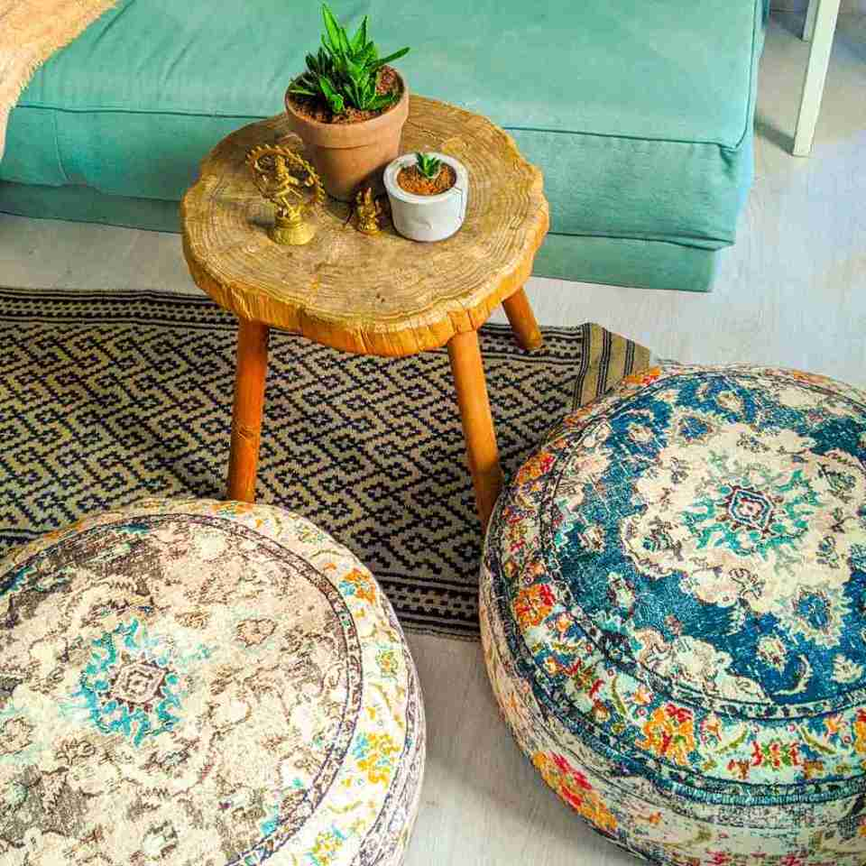 Vintage Pouf Floor Cushion Rug Carpet 5