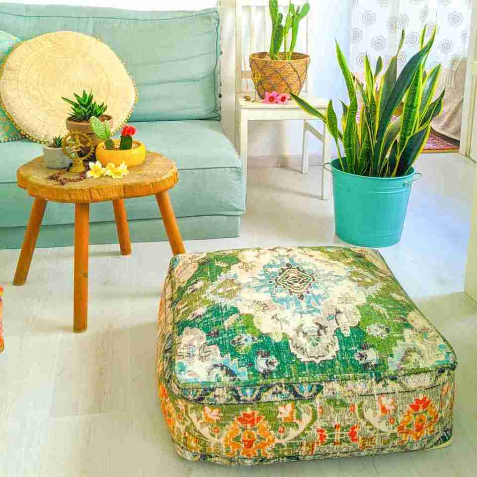Vintage Pouf Floor Cushion Rug Carpet 7