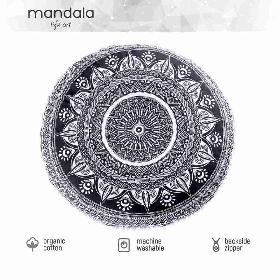 black and white mandala floor pillow 3