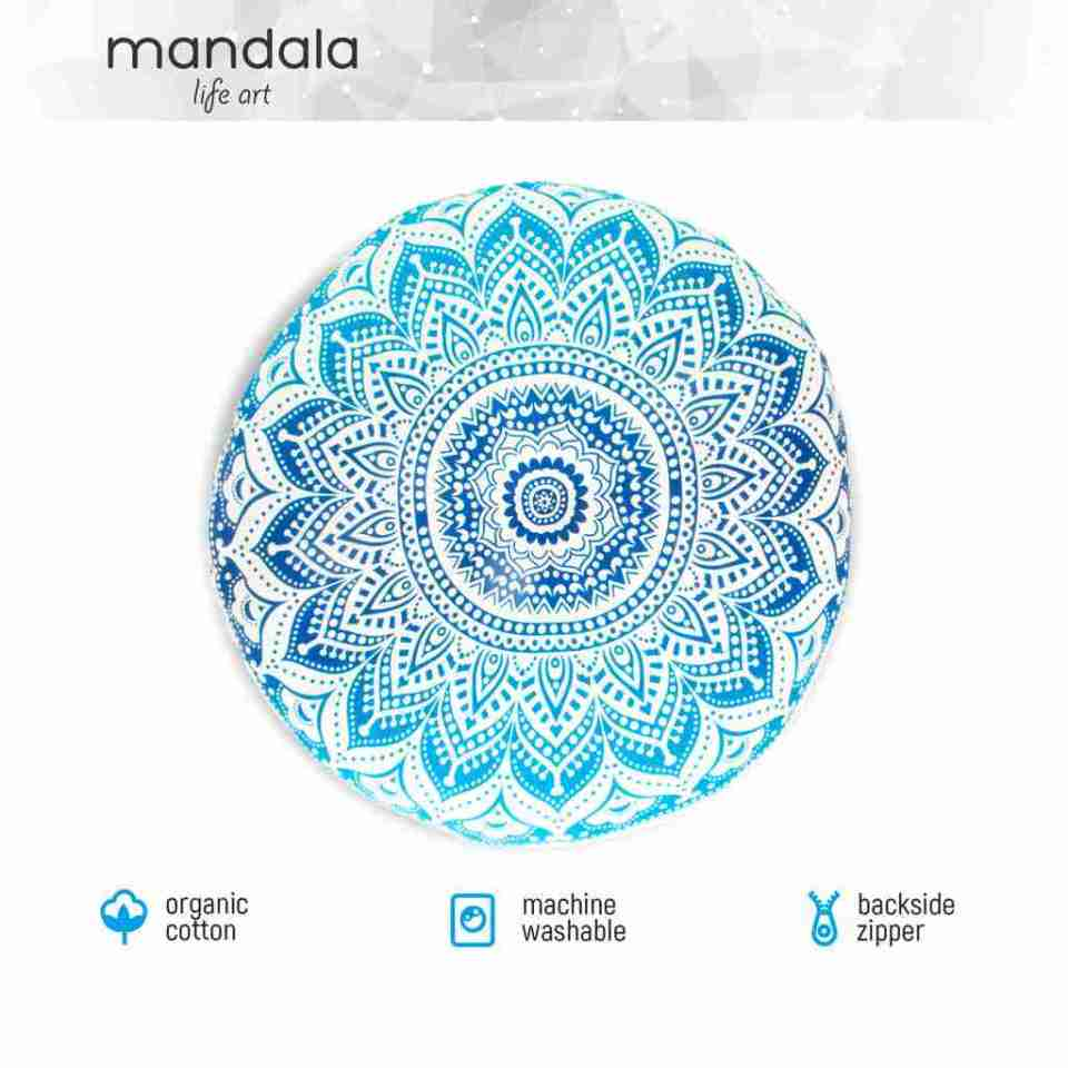 blue mandala floor pillow 2