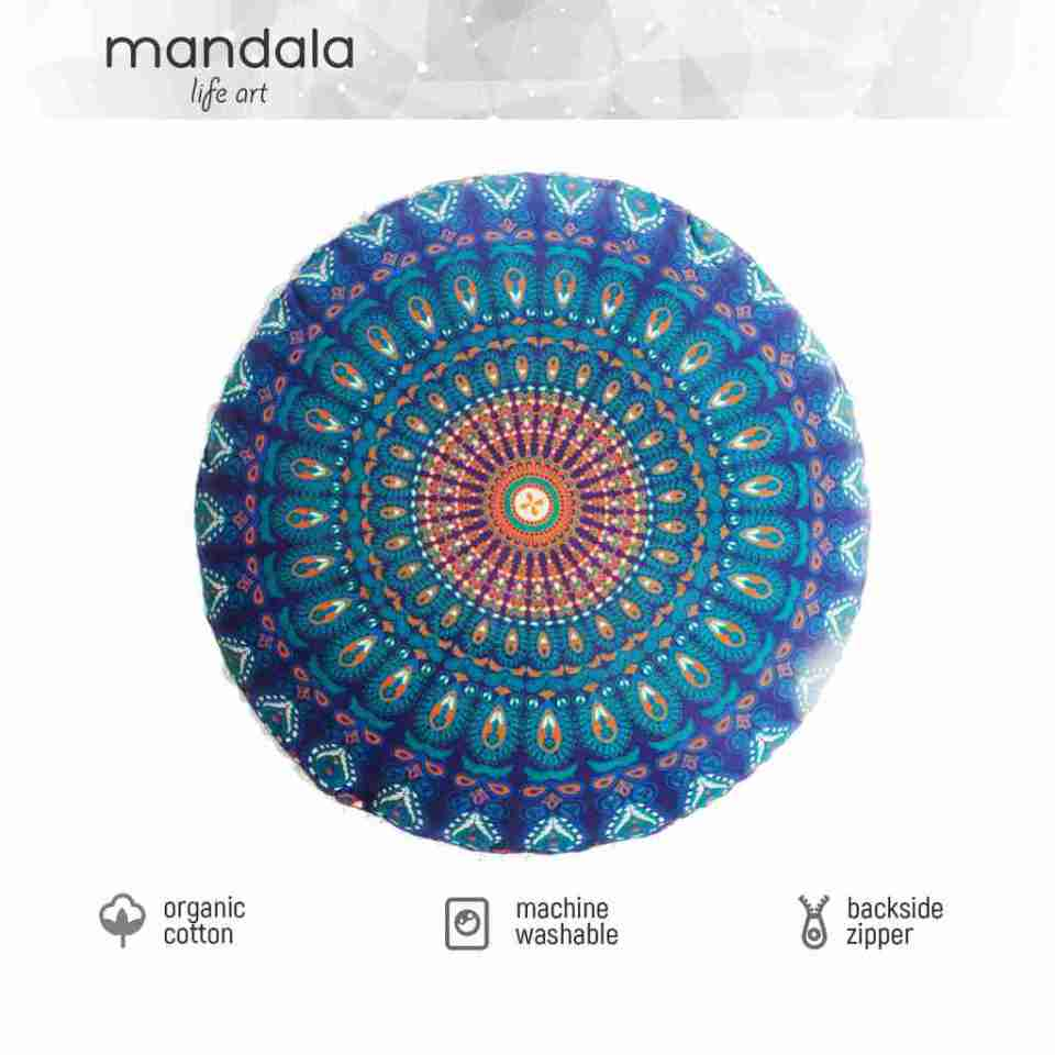 blue peacock mandala floor cushion 3