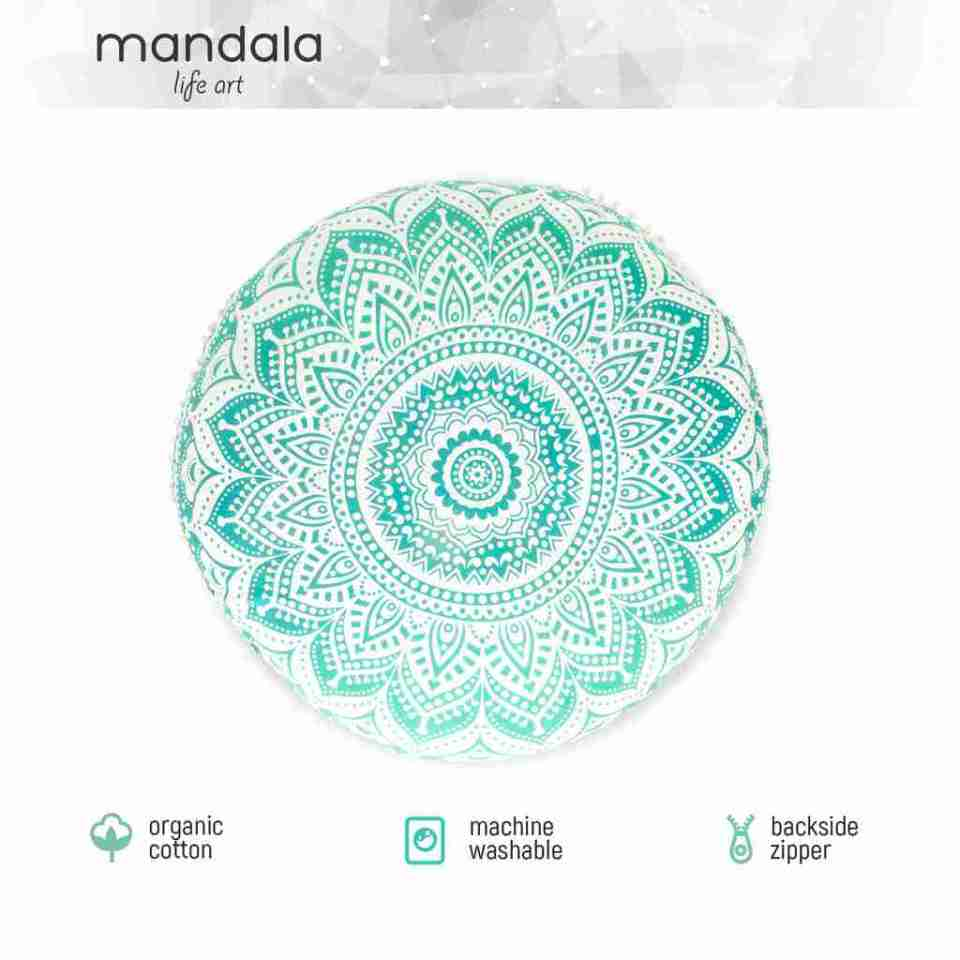 turquoise mandala boho chic floor cushion 1