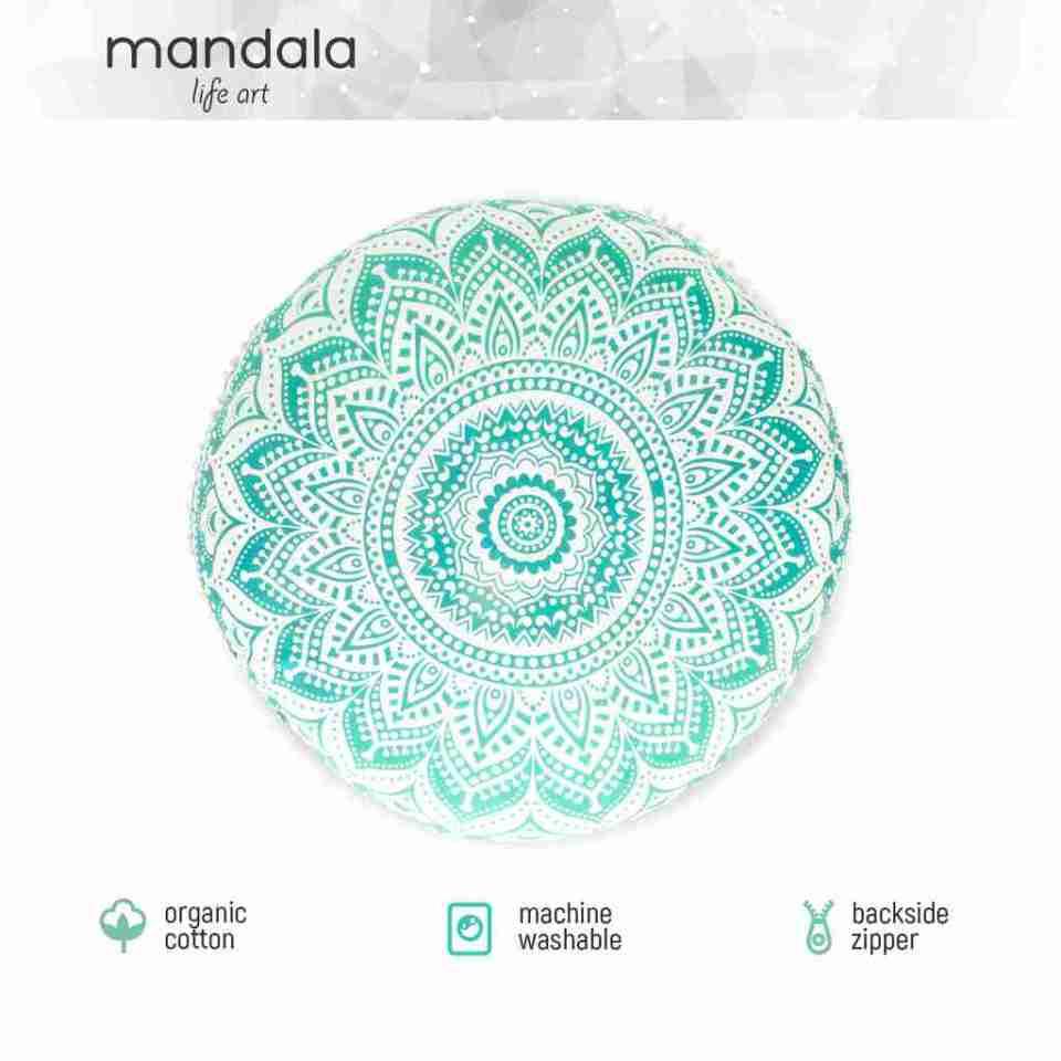 turquoise mandala boho chic floor cushion 1
