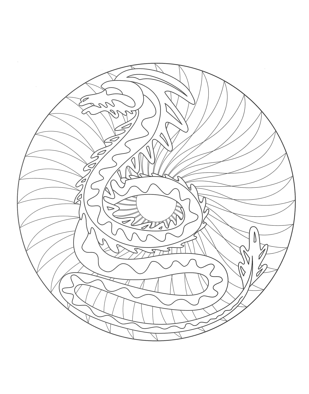 Dragon Mandala Mandalas Difficiles Pour Adultes 100 Mandalas Zen Anti Stress